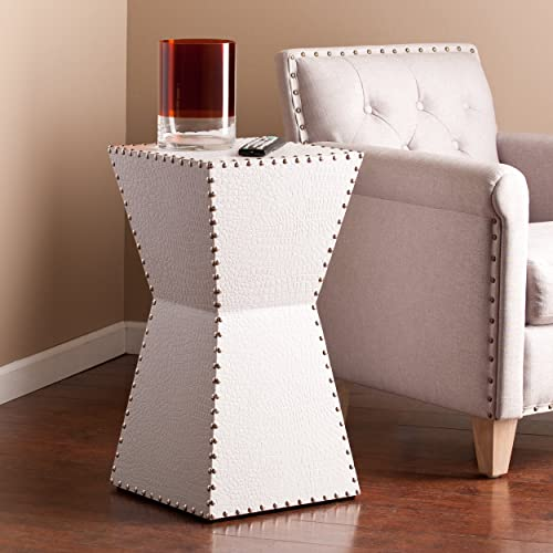 SEI Warrington Faux Leather Accent Table, White