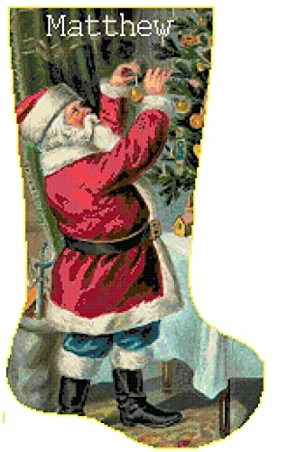 Pattern Only Cross Stitch Christmas Stocking Santa 5 with Name