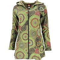 GURU SHOP Chaqueta larga Hippie Chic con bordado, para mujer, color verde oliva/limón, algodón, talla M (38), estilo…