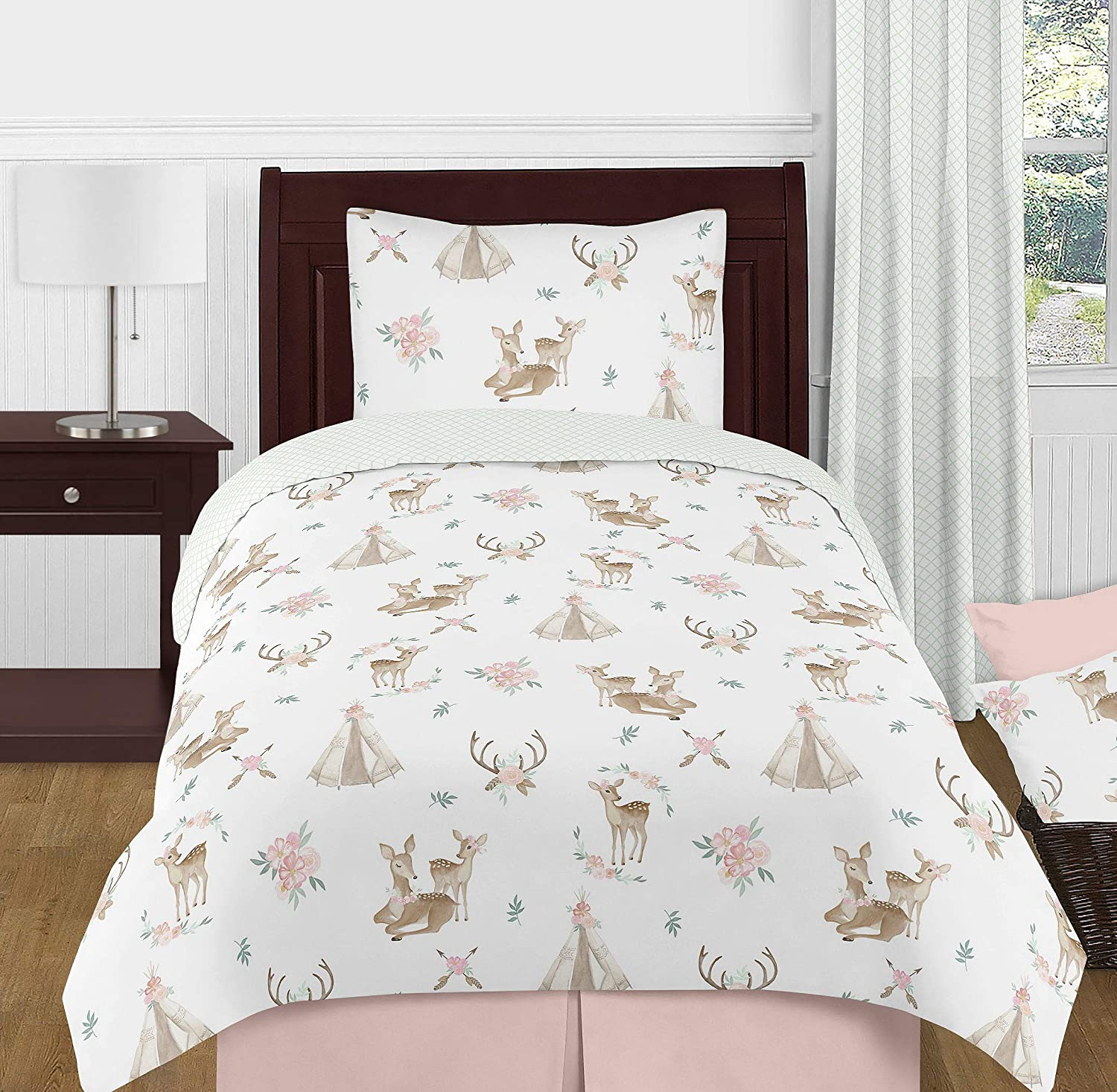 Sweet Jojo Designs Blush Pink, Mint Green and White Boho Watercolor Woodland Deer Floral Girl Twin Kid Childrens Bedding Comforter Set