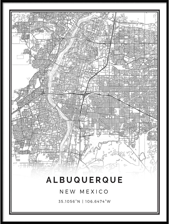 Squareious Albuquerque map Poster Print | Modern Black and White Wall Art | Scandinavian Home Decor | New Mexico City Prints Artwork | Fine Art Posters 18x24