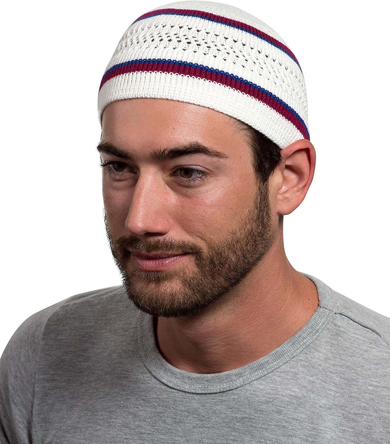 Muslim Bookmark Stretchy Elastic Beanie Kufi Skull Cap Hats Featuring Cool Designs and Stripes (Black w/Perforated Design) at  Men's Clothing store