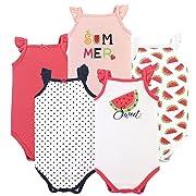 Hudson Baby Sleeveless Cotton Bodysuits, 5 Pack, Watermelon, 0-3 Months (3M)
