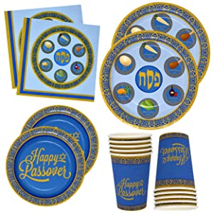 """Gift Boutique Passover Disposable Paper Tableware Set 24 9"""" Seder Plates 24 7"""" Plates 24 9 Oz Cups and 50 Luncheon Napkins for Party Supplies Decorations"""