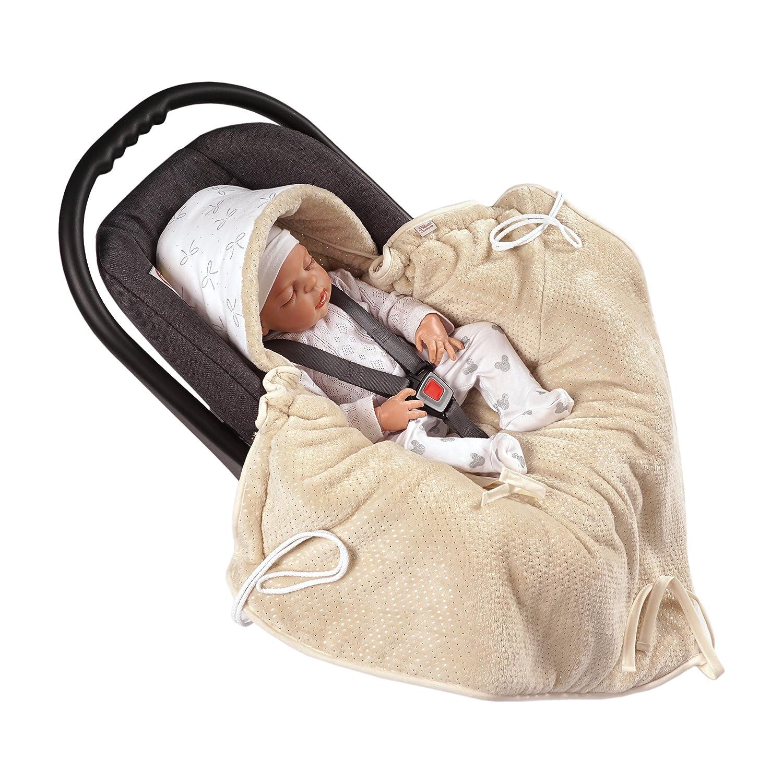 MOMIKA Einschlagdecke, Universal für Babyschale, Autositz, für Kinderwagen, Buggy oder Babybett,stylischer Silberfaden (Cream) für Kinderwagen