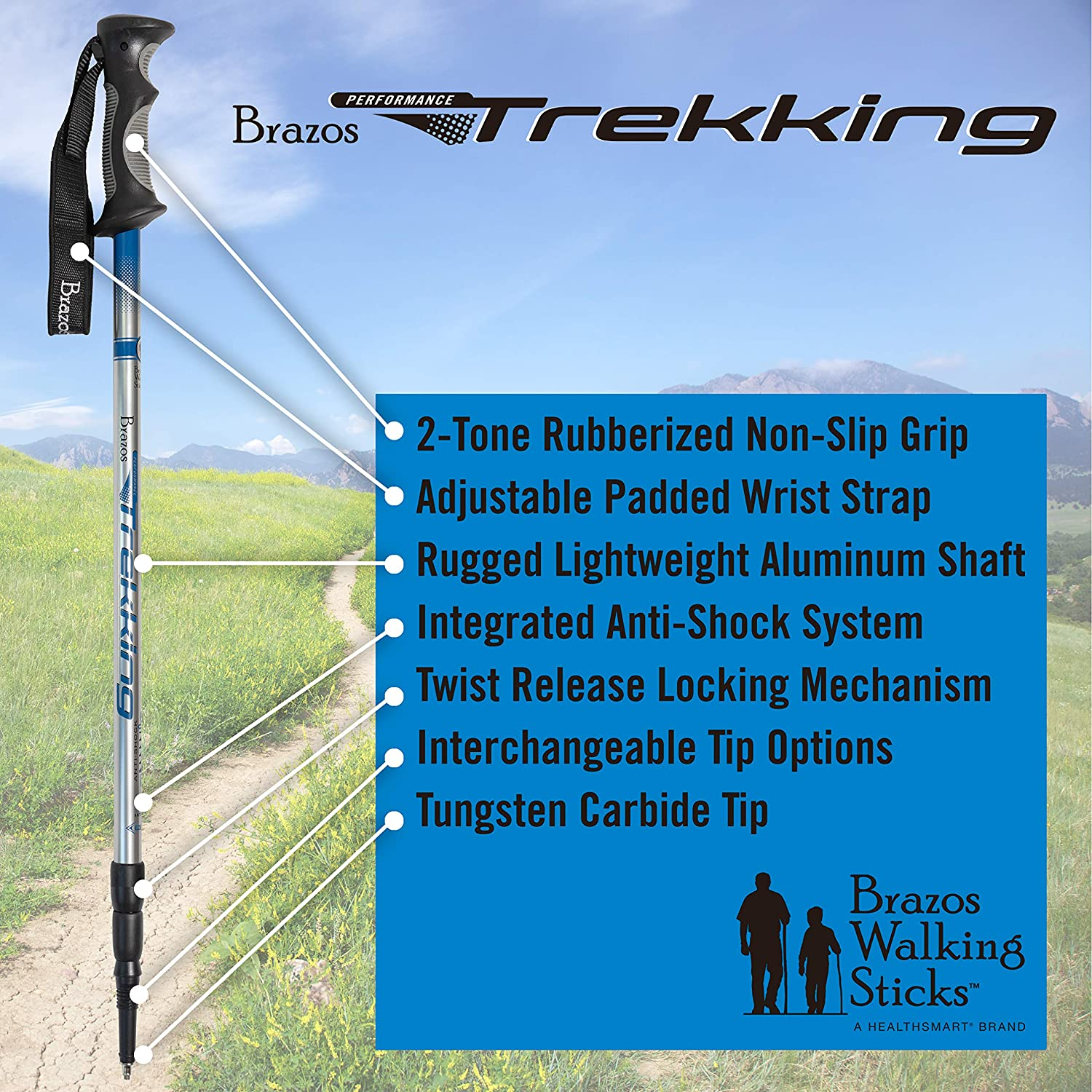 Brazos Walking Sticks Trekking Poles Collapsible Hiking Walking Stick with Integrated Anti Shock Technology and Interchangeable Tip – Adjustable Height Trail Poles for Men and Women – 2 Pack, Blue