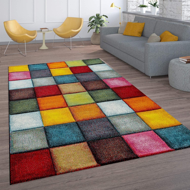 Alfombra Salón Pelo Corto Diseño Cuadros Colorida Cuadrados Multicolor Alegre, tamaño:120x170 cm