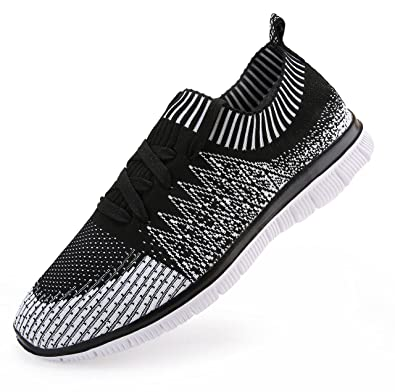 Vibdiv Men's Shoes For Running Light Weight Lace-Up Flyknit Fashion Sneakers(7  D
