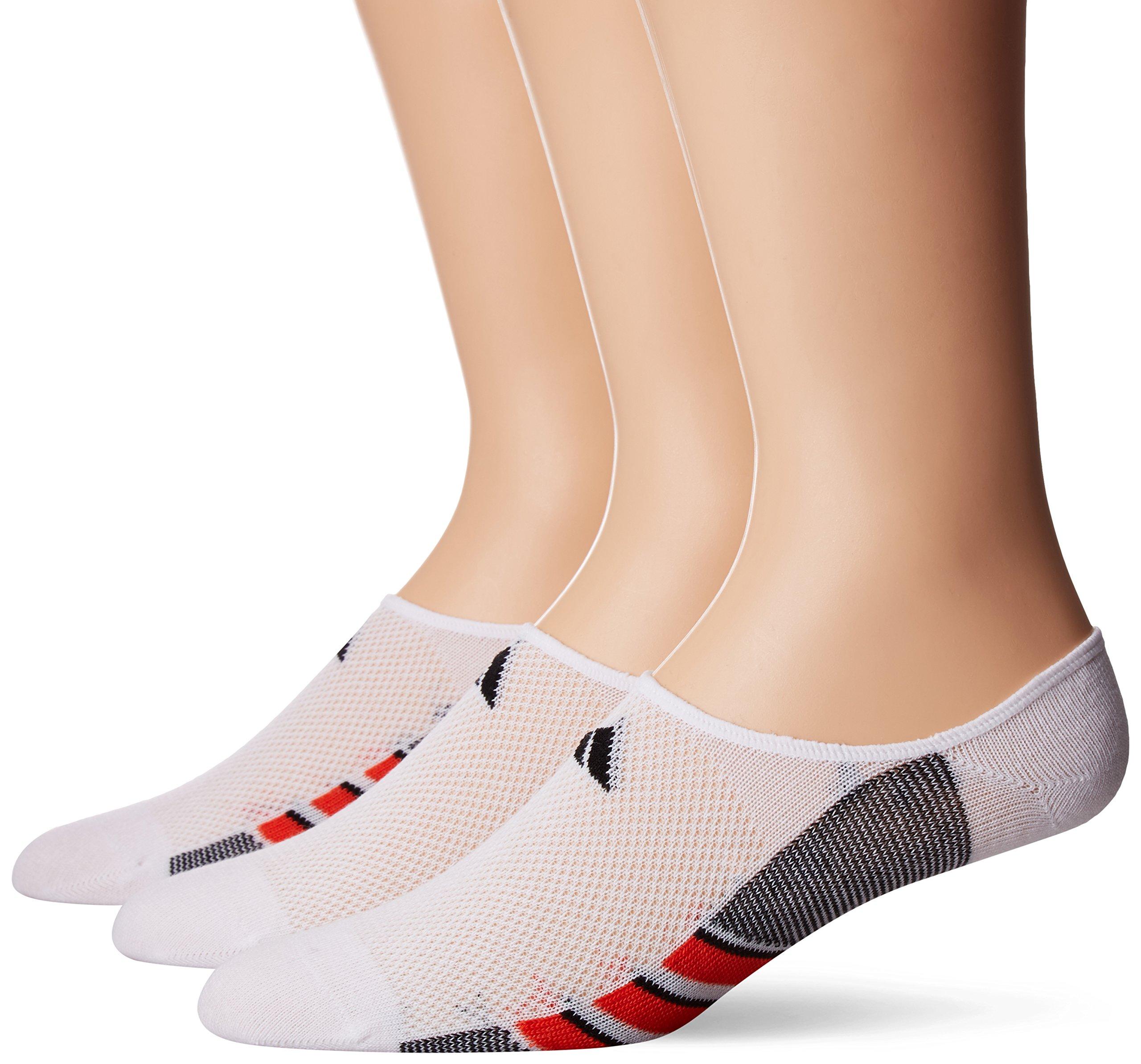 adidas Men's Climacool Superlite Super No Show Socks (3 Pack), White/Energy Red/Black, Large