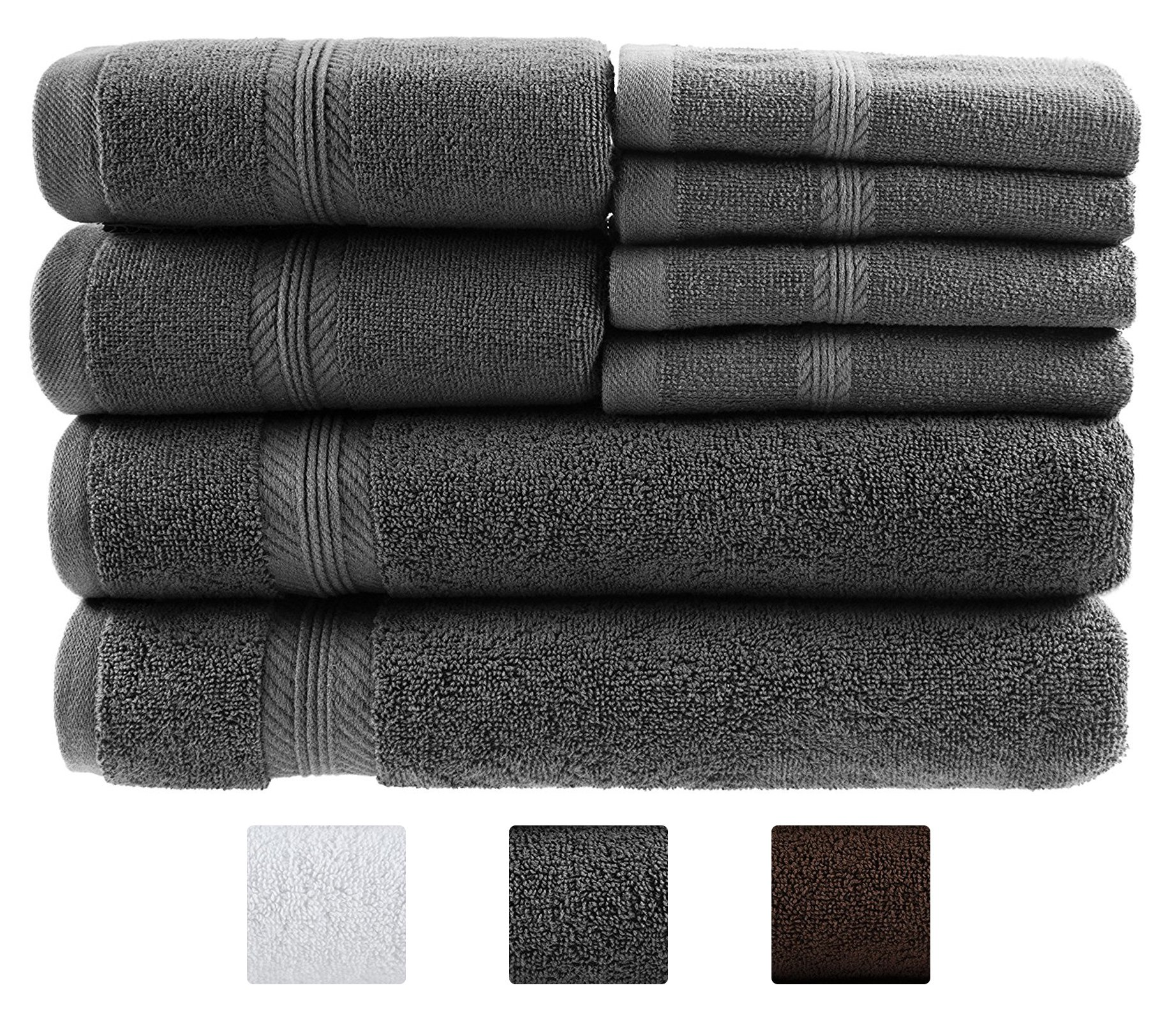 8 Piece Towel Set, 100% Ring Spun Genuine Cotton, Absorbency & Softness, Hotel & Spa Quality for Kitchen and Decorative Bathroom, 2 Bath Towels, 2 Hand Towels and 4 Washcloths, Dark Grey