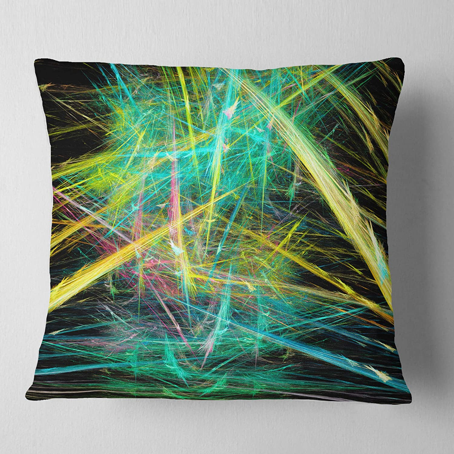 in Designart CU16168-26-26 Green Yellow Magical Fractal Pattern Abstract Cushion Cover for Living Room Sofa Throw Pillow 26 in Insert Printed On Both Side x 26 in