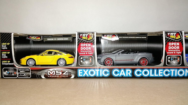 MSZ Exotic Car Collection 4 Pack Porsche, Bentley, Jaguar, and Ford GT