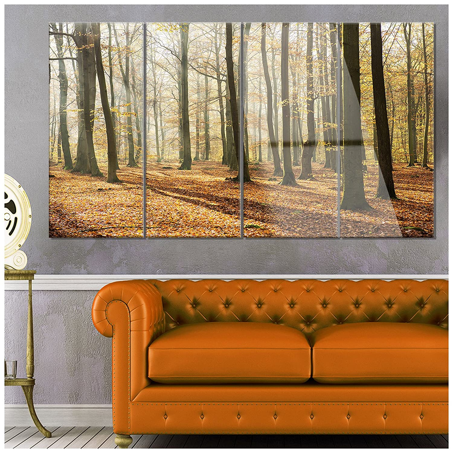 Designart Bright Autumn Day in Thick Modern Forest Glossy Metal Wall Art 28 H/x/60 W/x/1 D 5PE Brown