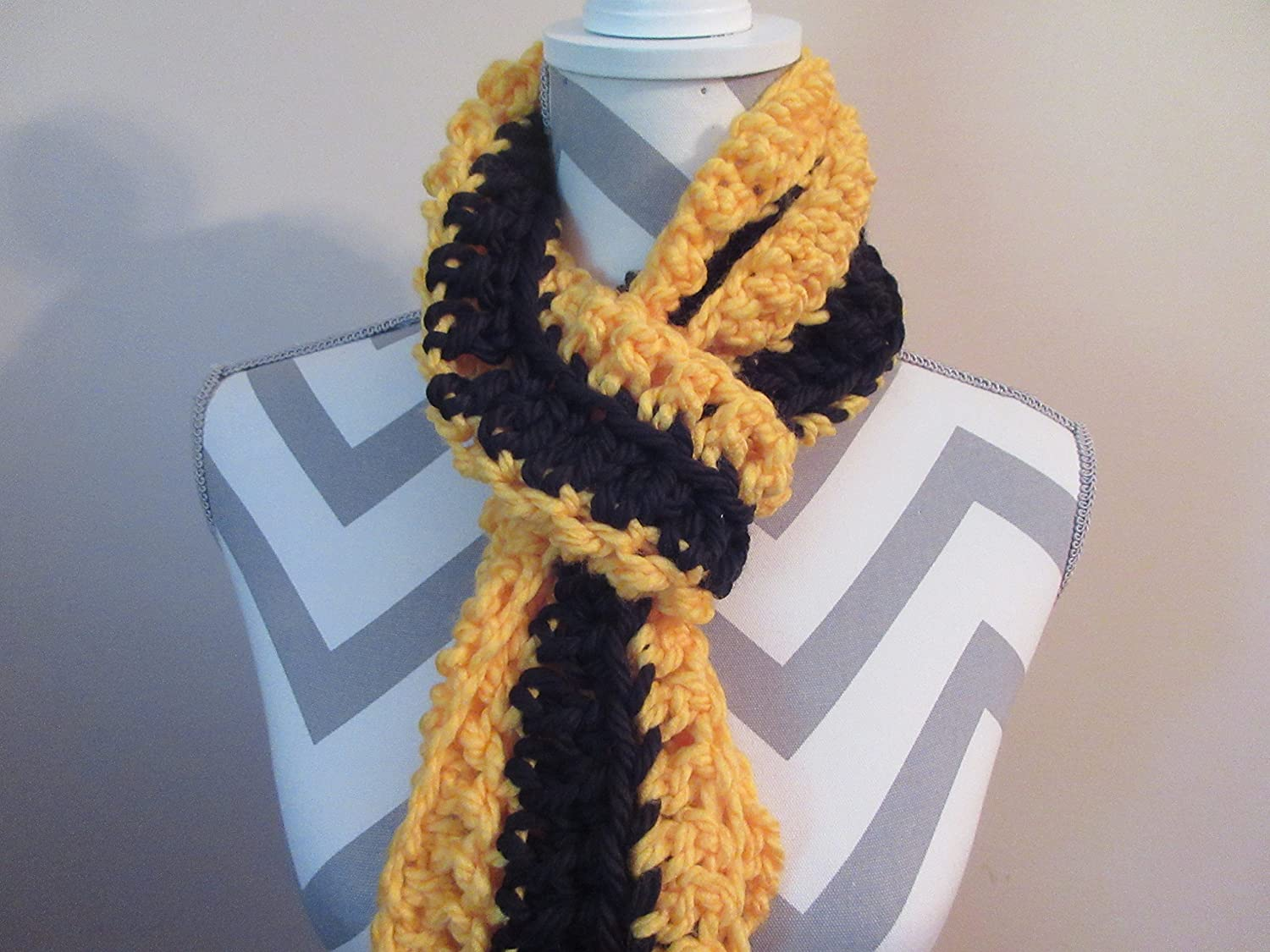 Handmade Crocheted Yellow Black Scarf Soft Chunky Long Boho Scarf Shawl by Ladies Fashion Design One Size Fits All Gift for Her Gift Bag and Ribbon Included