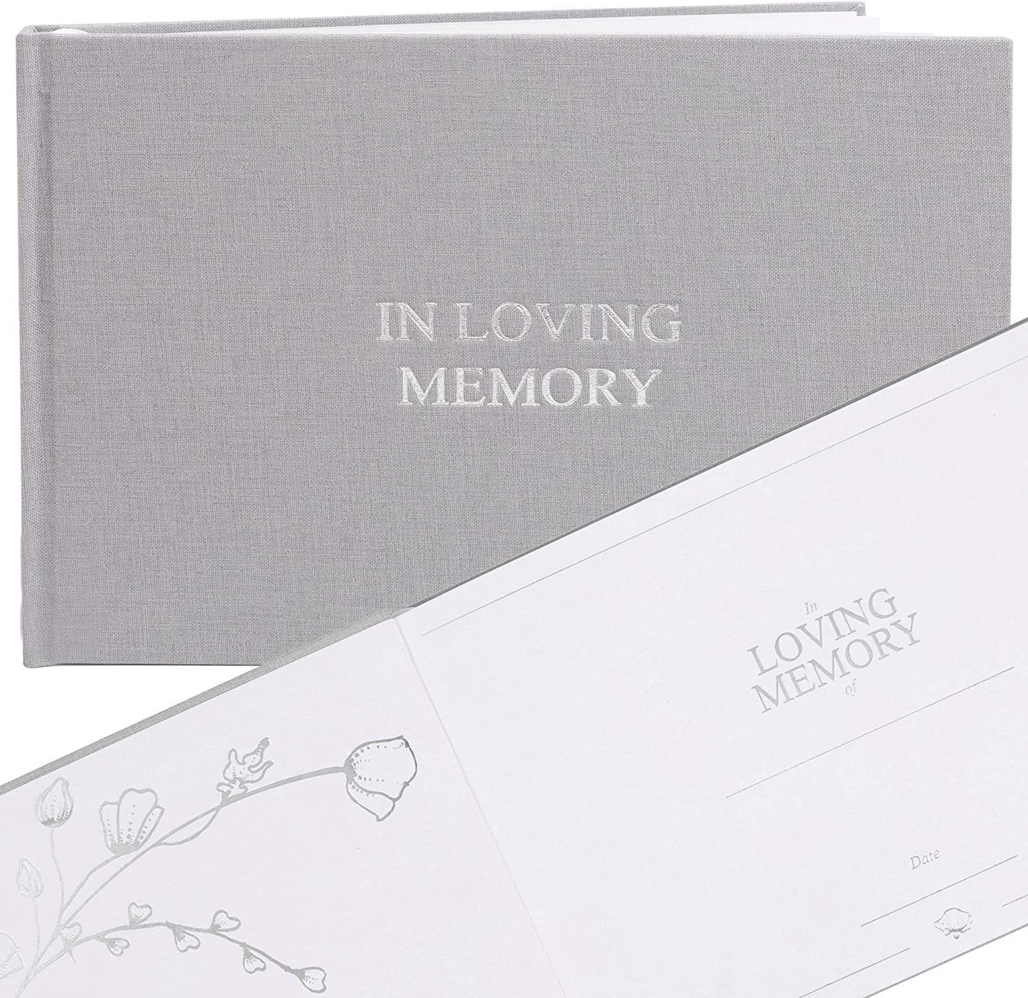 "FLUYTCO Funeral Guest Book in Loving Memory (120 Pages) - Linen Hardcover - Memorial Service, Celebration of Life - Condolence & Remembrance Keepsake Registry Book - 7.5"" x 10.5"""