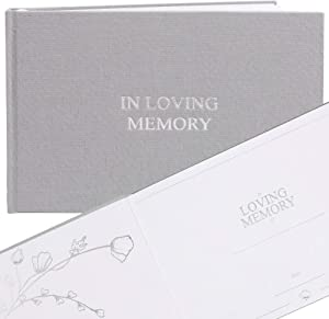 """FLUYTCO Funeral Guest Book in Loving Memory (120 Pages) - Linen Hardcover - Memorial Service, Celebration of Life - Condolence & Remembrance Keepsake Registry Book - 7.5"""" x 10.5"""""""