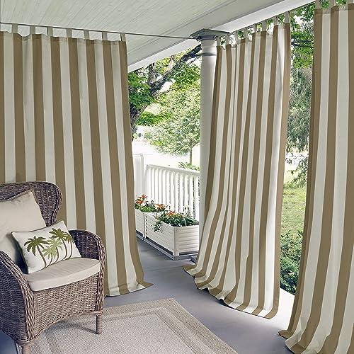 Best window curtain panel: Elrene Home Fashions Highland Stripe Indoor/Outdoor Adhesive Loop Fastener Tab Top Window Curtain Panel