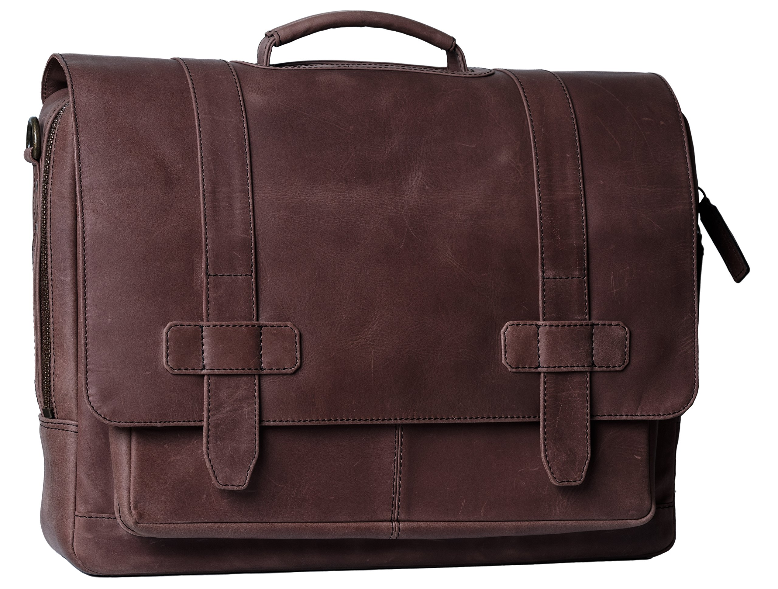 Genuine Leather Messenger Laptop Bag/Briefcase for Men, LOGAN, fits 15.4 inch Laptop, adjustable strap, 16 inch by 12 inch by 4 inch (Chestnut Brown) by Ladderback