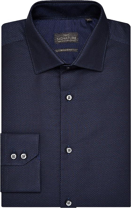 next Hombre Camisa Textura Lunares Signature Puños Sencillos ...