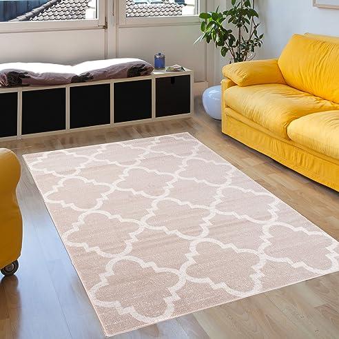 Amazon.de: Teppich Wohnzimmer Beige Creme 120 x 170 cm Designer ...