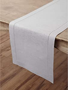Solino Home Hemstitch Linen Table Runner - 14 x 60 Inch, Handcrafted from European Flax, Machine Washable Classic Hemstitch - Soft Grey
