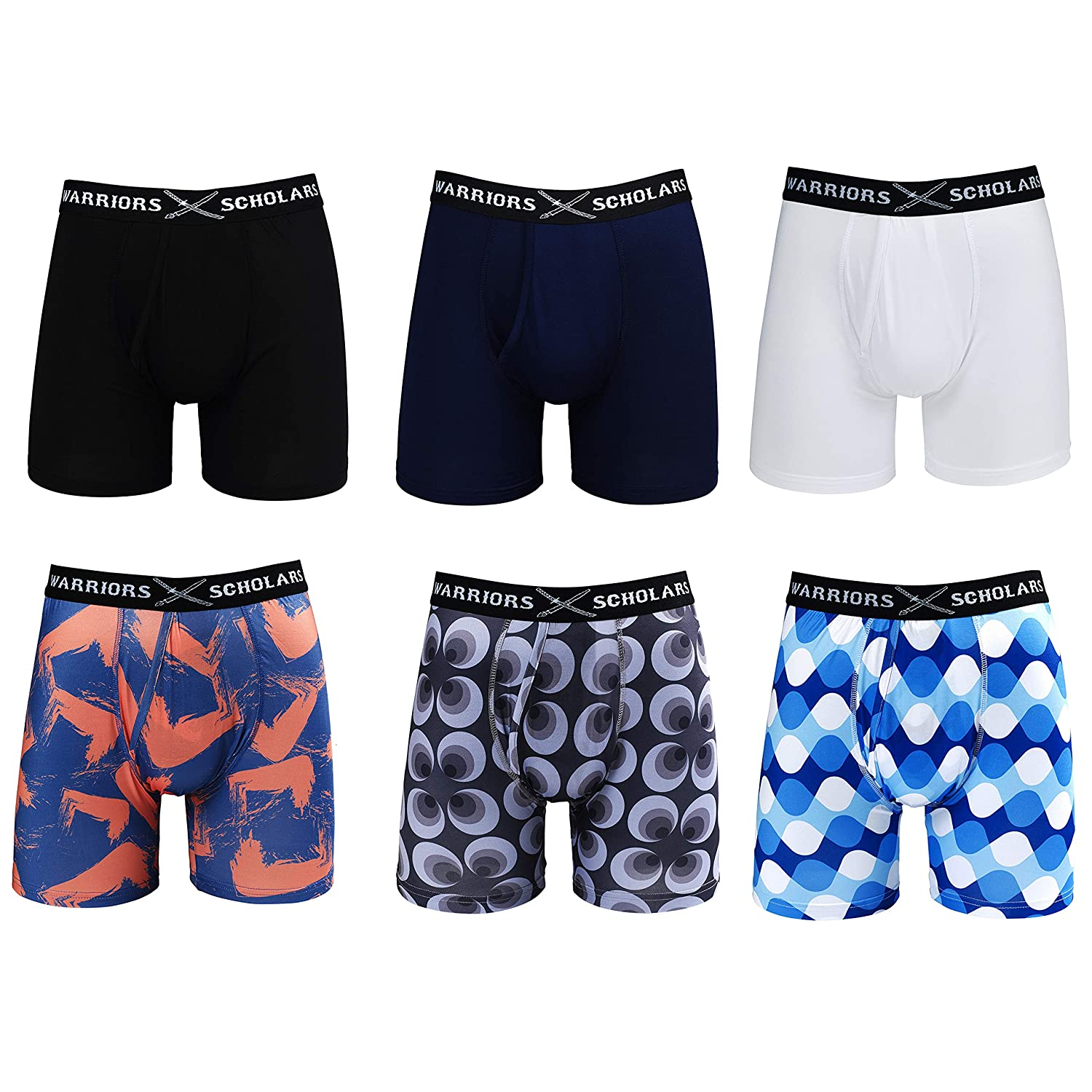 Warriors /& Scholars Mens Boxer Briefs 6 Set Multi Pack Youth Mens No Ride Up Underwear Boxers for Men