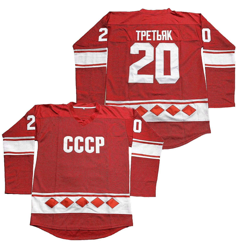 Vladislav Tretiak #20 CCCP 1980 USSR CCCP Russian Hockey Jersey...