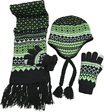 NIce Caps Girls Fashion Striped Knit Hat Scarf Glove 3PC Soft Pile Lined Set