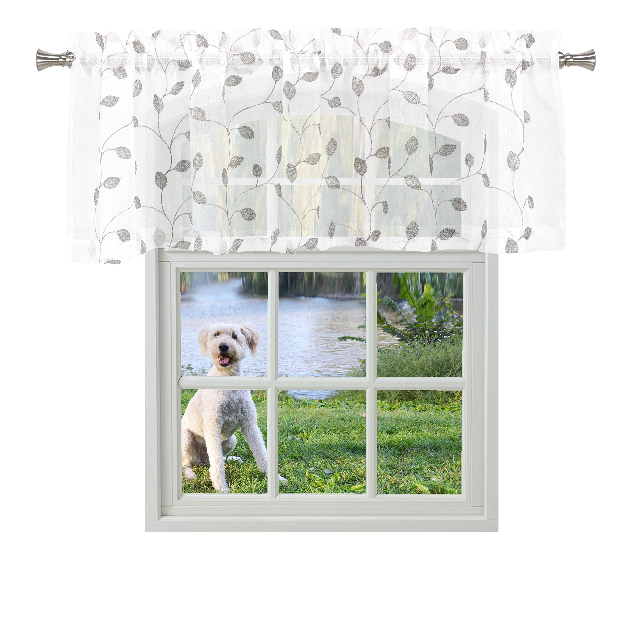 Bathroom and More KIRA Collection Pure White Sheer Window Curtain Valance with Embroidered Gray and Metallic Silver Leaf Design (Single (1) Valance 53in W x 15in L)