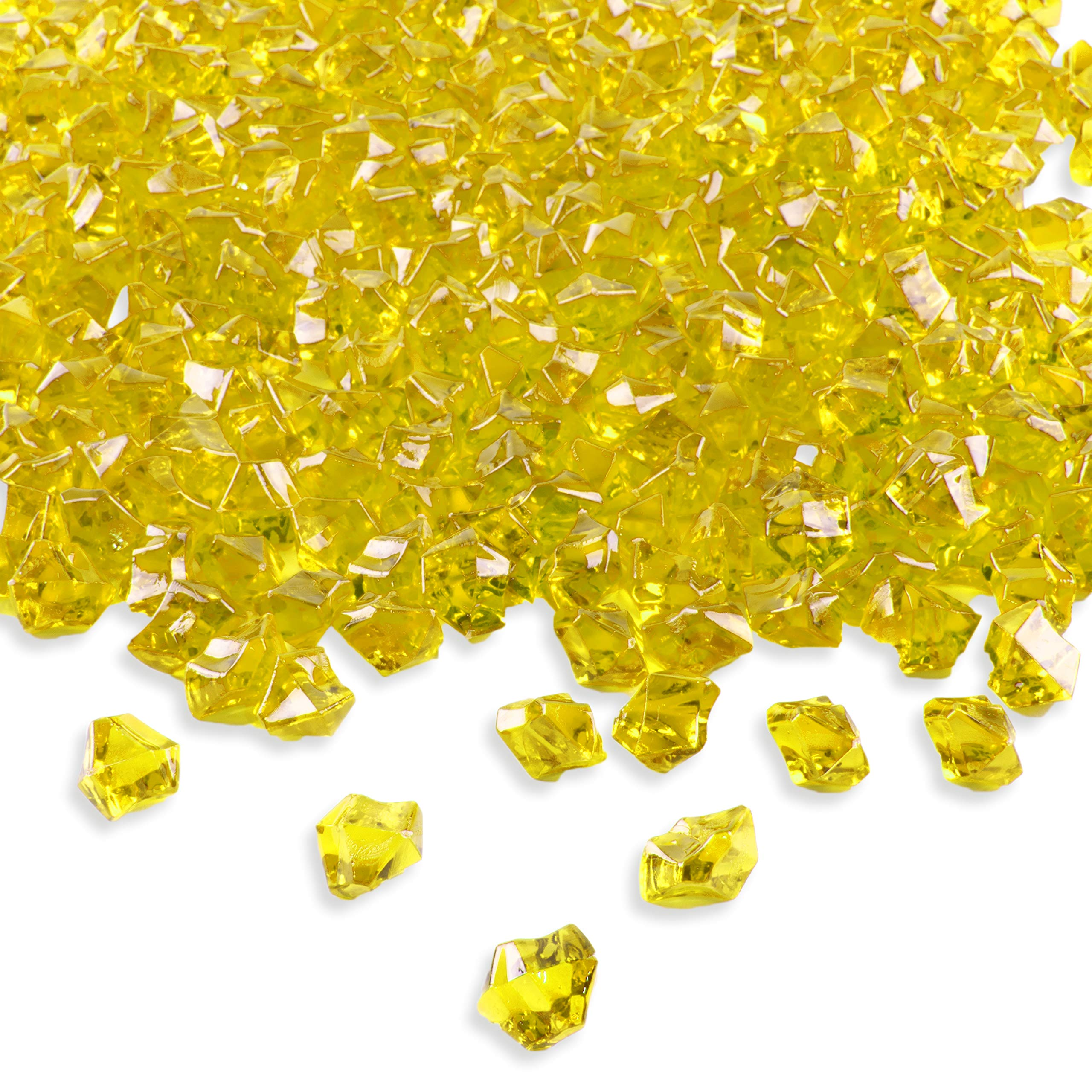 Super Z Outlet Acrylic Color Ice Rock Crystals Treasure Gems for Table Scatters, Vase Fillers, Event, Wedding, Birthday Decoration Favor, Arts & Crafts (385 Pieces) (Yellow) by Super Z Outlet