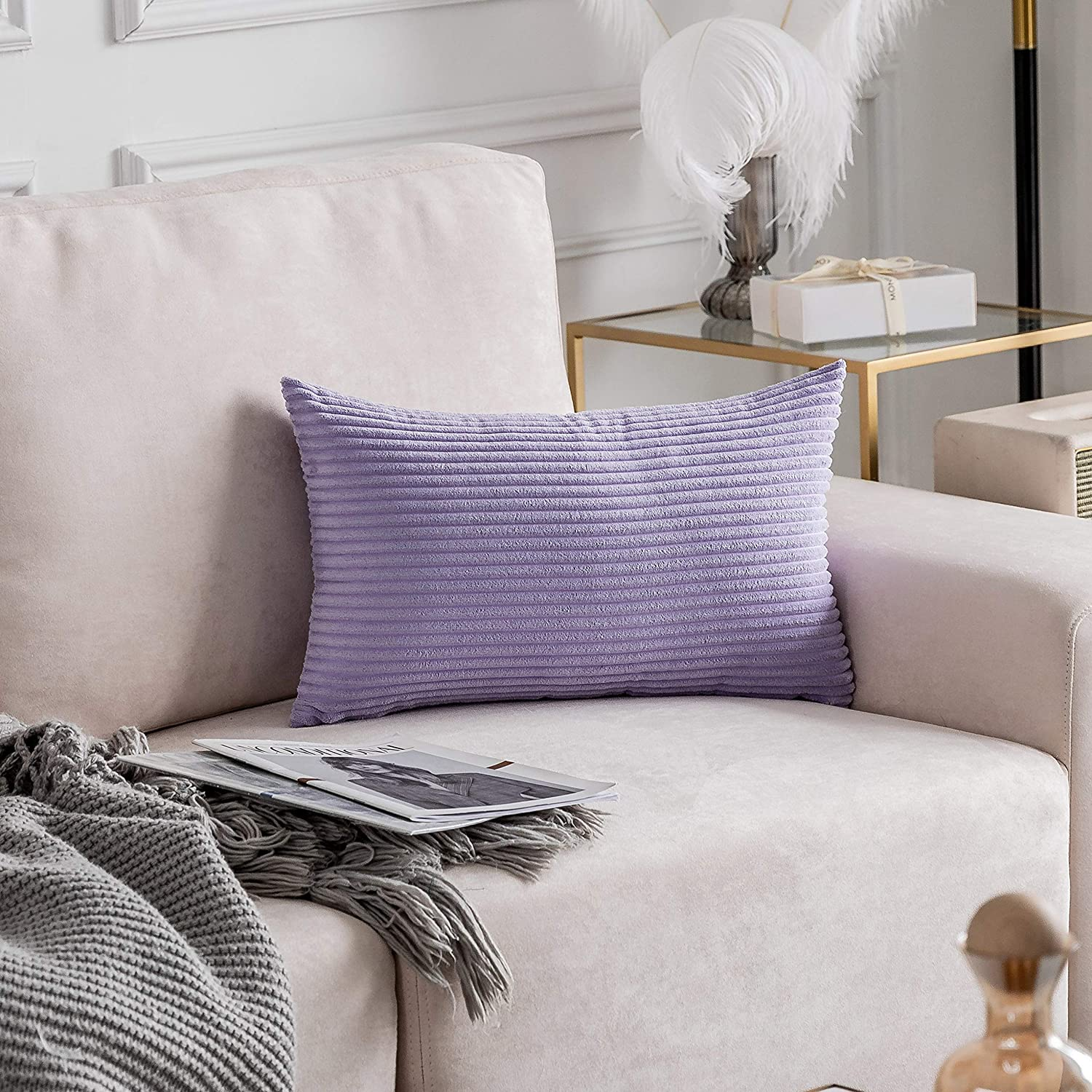 Home Brilliant Soft Throw Pillows Cover Solid Striped Velvet Lumber Rectangle Decorative Pillowcase for Man Living Room, Lavender 12x20 inches(30x50 cm)