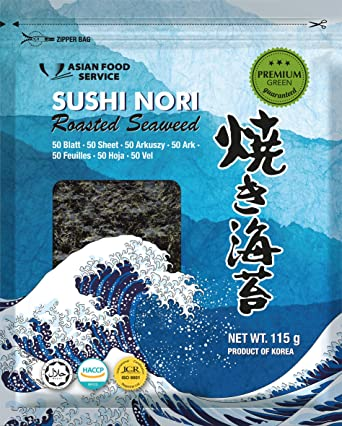 Asian Food Service Alga Nori, Hoja Completa 115 g (9332)
