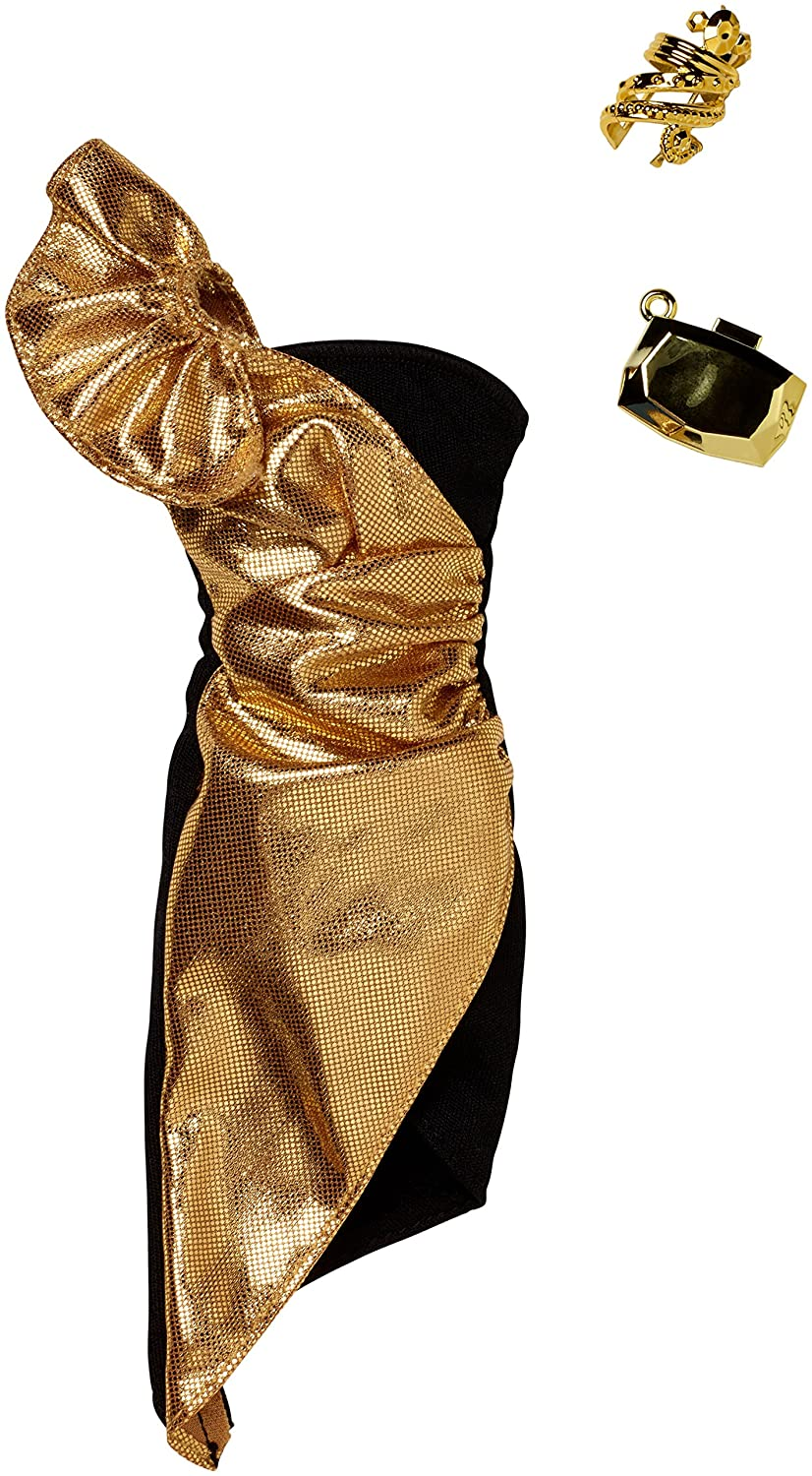 Barbie Fashions Complete Look Gold Metallic One Shoulder Dress Fashion Pack Fisher Price / Mattel Canada FKT24