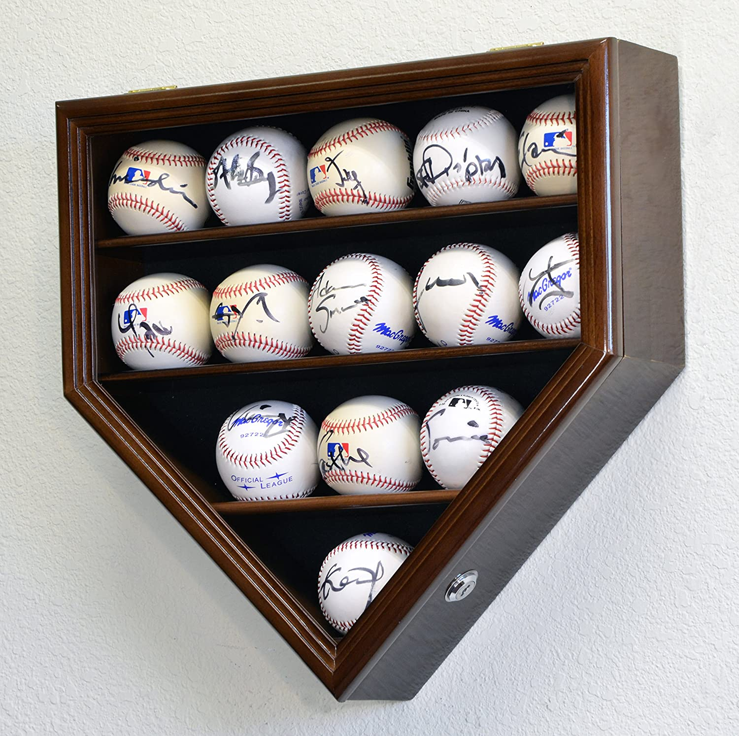 14 Baseball Ball Display Case Cabinet Holder Wall Rack Home Plate Shaped 98% UV Protection- Lockable