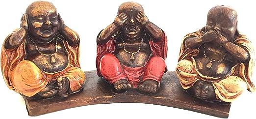 3 Red Buddhas Figurine No Hear No See No Speak Evil Statue