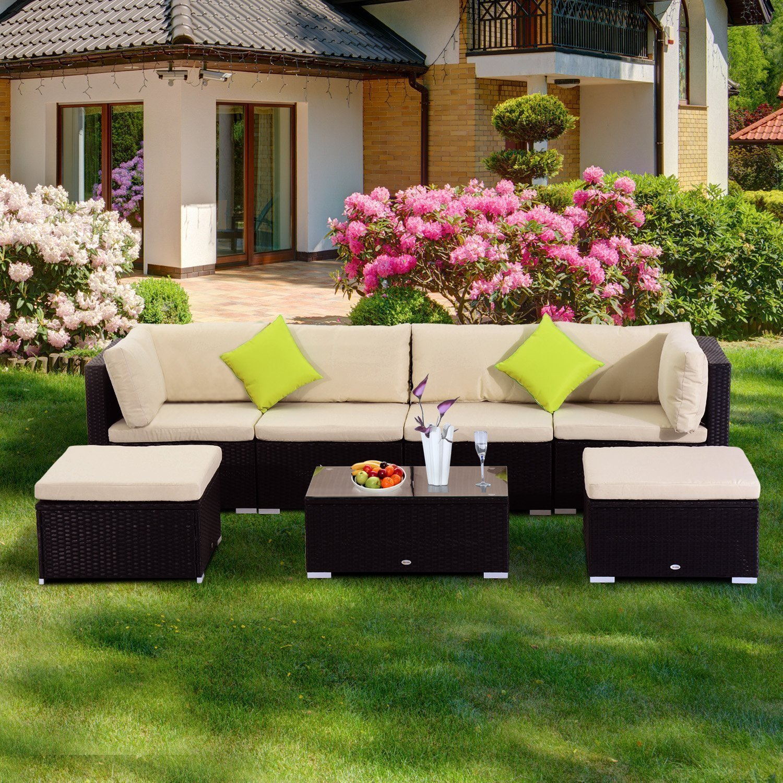 Outsunny Conjunto Muebles de Jardín de Ratán 7 Piezas Mesa Sofás Taburetes con Cojines Lavables