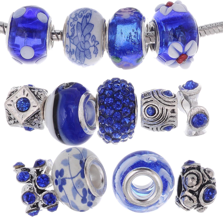 RUBYCA Murano Lampwork Charm Glass Beads Tibetan Crystal European Bracelet Mix Assortment Black 15Pcs