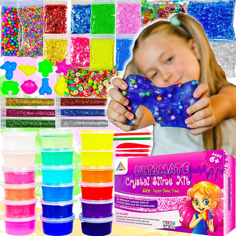 DIY 'Make Your Own' SLIME Kit Kids Christmas Toy Glitter Glow Foam Beads Neon