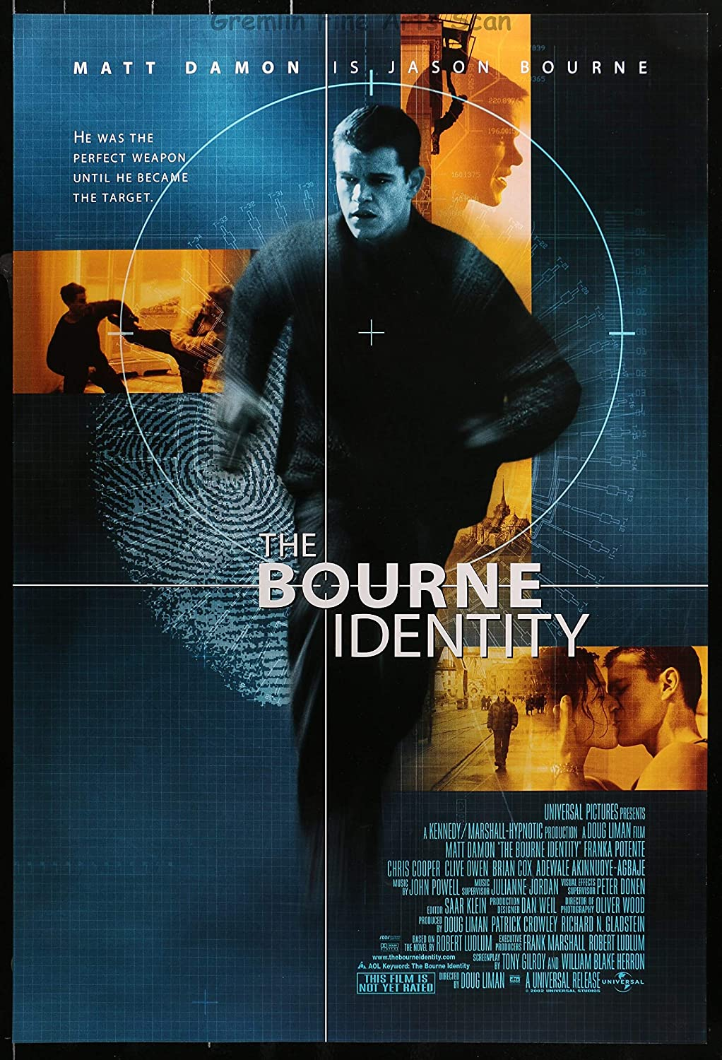 The Bourne Identity 2002 Theatrical Movie Poster Starring Matt Damon At Amazon S Entertainment Collectibles Store
