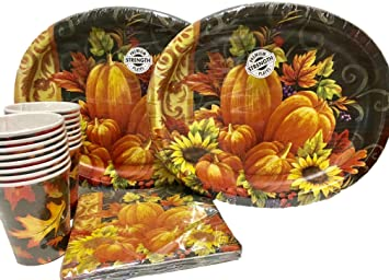 48 Piece Thanksgiving Fall Holiday Disposable Tableware - Paper Plates Napkins Cups Bundle  sc 1 st  Amazon.com & Amazon.com: 48 Piece Thanksgiving Fall Holiday Disposable Tableware ...