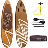 "LiveLife Stand-Up Inflatable Paddle Board 6"" Thick (with Travel Backpack, Dual Action High Pressure Hand Pump and Adjustable Aluminum Paddles)"