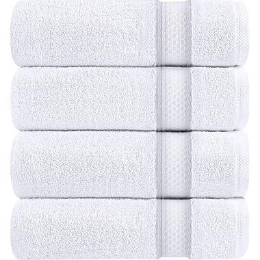 Utopia Towels Luxury White Bath Towels, 4 Pack, 27x54 Inch, 700 GSM Hotel Towels