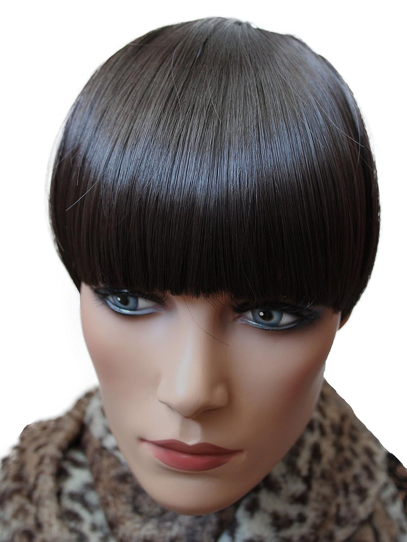 PRETTYSHOP Frangia Clip in Extension parrucca Look naturale resistenti al calore fibra sintetica vari colori HP4_10