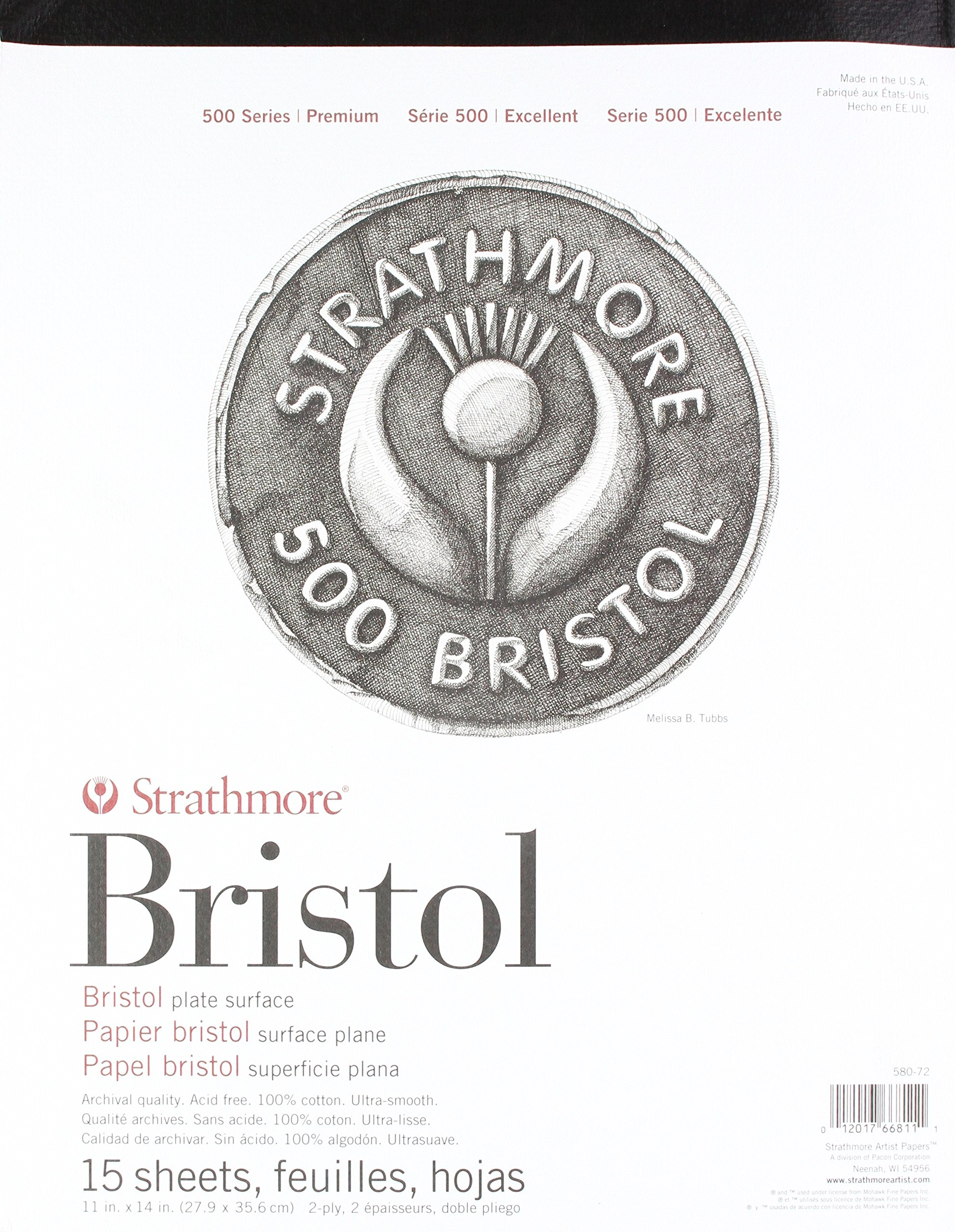 Strathmore (580-72 500 Series Bristol, 2-Ply Plate Surface, 11''x14'', 15 Sheets