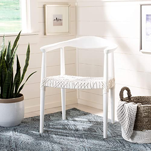 Safavieh Home Juneau White and White Leather Woven Accent Chair