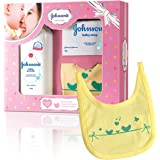 Johnson's Baby Care Collection Baby Gift Set with Organic Cotton Bib (3 Piece)