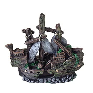 Adorno para decoración de acuario, barco, pequeño naufragio: Amazon.es: Productos para mascotas