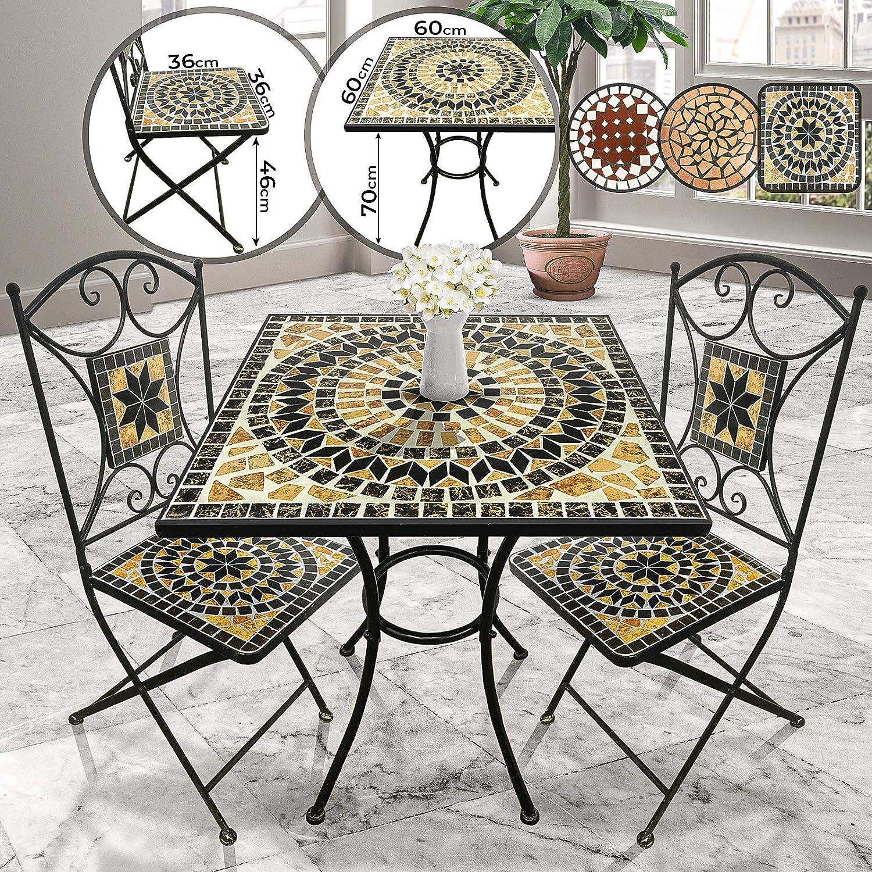 Mesa y Sillas Mosaico Set 1+2 - Cuadrada, Marrón/Negro/Blanco, Cerámica - Mobiliario Mosaico, Set Muebles Jardín, Juego Terraza, Conjunto Balcón: Amazon.es: Jardín
