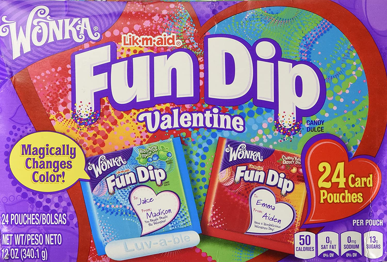amazon com wonka fun dip valentine card candy kit 24 count