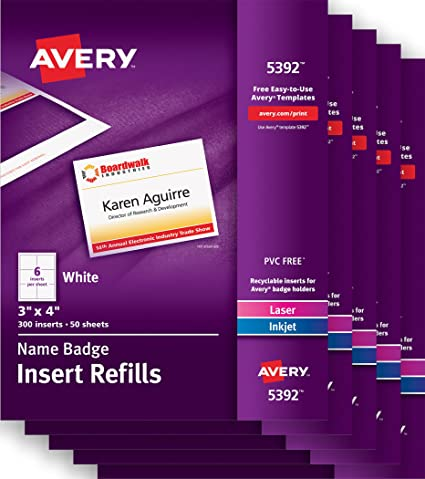 Amazoncom Avery Name Badge Insert Refills X Name - Avery 3x4 name badge template